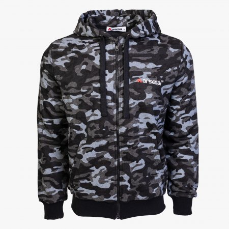 Black Camo Cotton-Poly Relaxed Fit  Zip-Up Hoodie