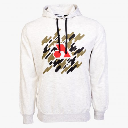 Beige Cotton-Poly Relaxed Fit Graphic Pullover Hoodie