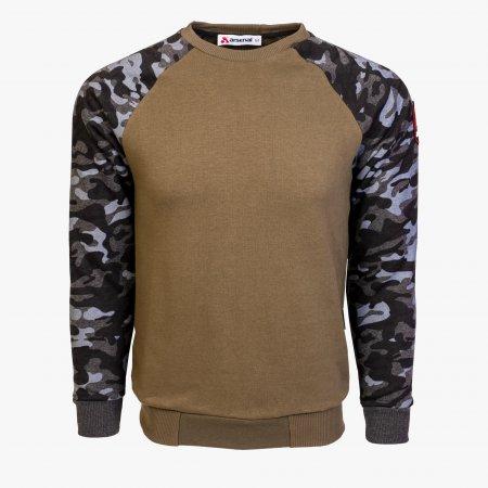 Khaki / Black Camo Cotton-Poly Standard Fit Pullover Sweater