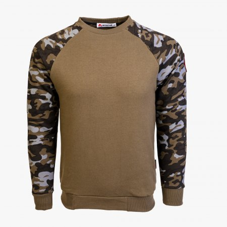 Khaki / Camo Series Utility Cotton-Poly Standard Fit Pullover Sweater