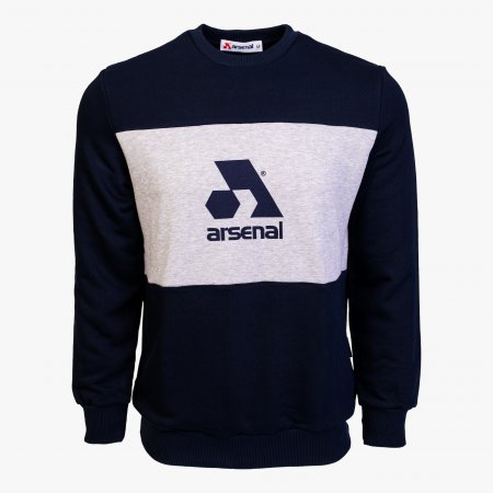 Blue / Grey Cotton-Poly Standard Fit Logo Pullover Sweater