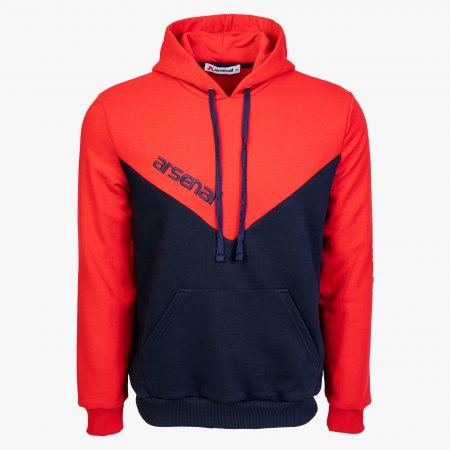 Blue / Red Sport Cotton-Poly Relaxed Fit Pullover Hoodie