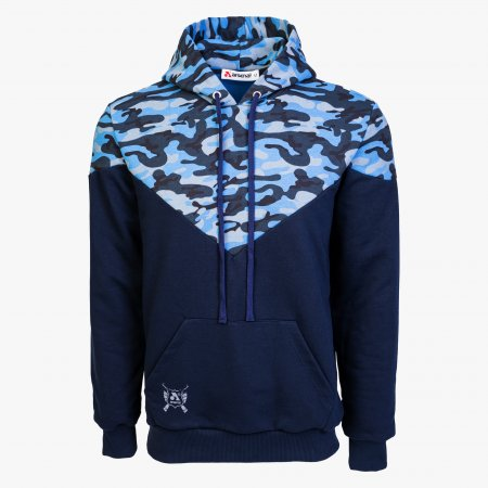 Blue Camo Cotton-Poly Relaxed Fit Ascend Pullover Hoodie