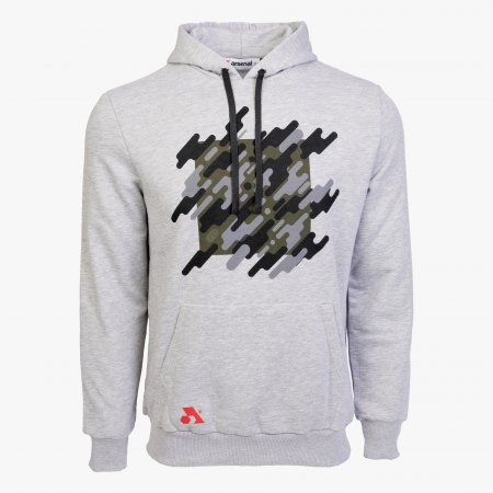 Gray Cotton-Poly Relaxed Fit Graphic Pullover Hoodie