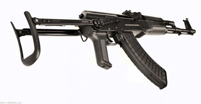 SAM7UF, 7.62x39mm caliber rifle, milled receiver, Under Folding Buttstock, rear side view