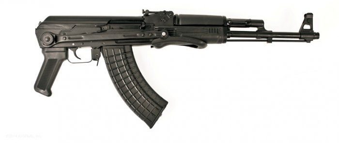 SAM7UF, 7.62x39mm caliber rifle, milled receiver, Under Folding Buttstock folded, Right side view